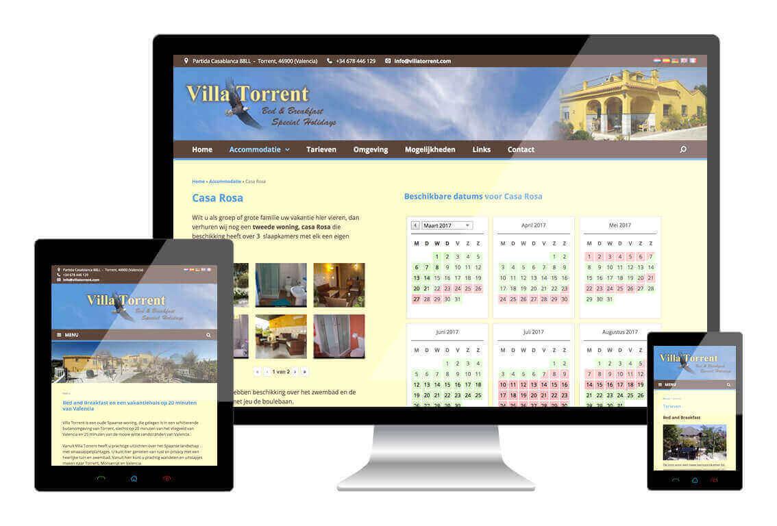 Villa Torrent heeft een responsive website laten maken